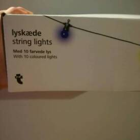 Multi colour string party lights indoors