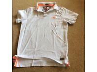 Superdry Classis Polo white with orange velvet tabs. XX large