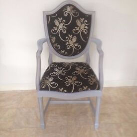 bedroom chair grey frame with black and gold fabric