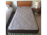 Two Single Beds - Each with Frame, Sidhil Mattress and Wooden Headboard