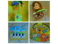 Baby entertaining toys bundle. Bouncer, cot mobile, gym, cot piano