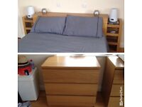 HEADBOARD & CHEST OF 3 DRAWERS