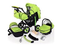 Green Unisex Baby 3in1 travel system,comes with everything,car seat,carry cot,toddler stroller,pram