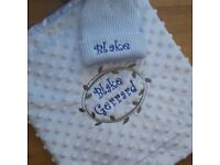 Personalised Embroidered Blanket and Hat Set