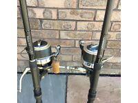 Fox warrior rods x 2 and wychwood reels x 2