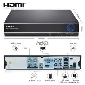 SANNCE 5IN1 1080N 4CH Digital Video Recorder for Surveillance CCTV Camera System 250 GB HARD DRIVE