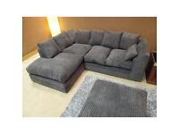 Dylan sofa jumbo cord dark grey 3+2 or corner left hand or right hand free delivery