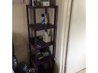 Purple shelving corner unit