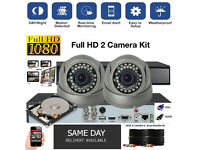 Full HD 1080p CCTV Security Camera Kit / 2x 1080p Dome Cameras / 1080p DVR with Hard Drive / Cables