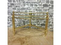 Curved Vintage Brass Frame Nest of Tables
