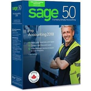 Sage 50 Pro Accounting 2018 - Bilingual - 1 User License - CPRO2018CSRT