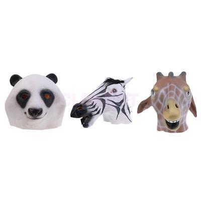 Latex Full Head Animal Mask Panda Zebra Giraffe Halloween Cosplay Fancy Dress Up - Latex Giraffe Mask