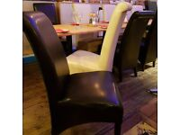 37 Black and 17 cream restaurant chairs cheap and in good condition.