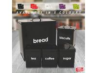5 Piece Kitchen Storage Canister Biscuits Tea Coffee Sugar Jar Bread Bin Set Box