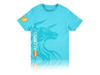 McLaren Honda Fernando Alonso Short Sleeve T-Shirt Tee Top Sky Blue Childrens