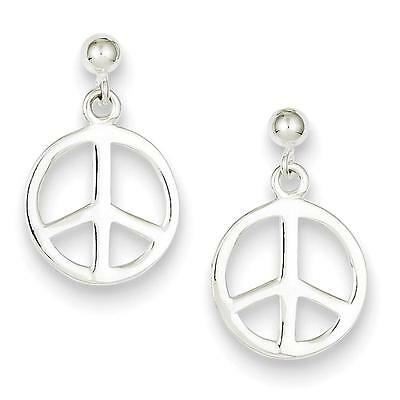 Ladies 925 Sterling Silver Polished Peace Sign Dangle Post Earrings 15mm x 23mm
