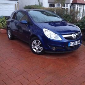 2007 vauxhall corsa club 1.4, 3 door, 12 months mot, fsh, runs well