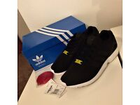 Unisex Black & White adidas ZX Flux Trainers, ADULT SIZE UK 8, Worn Once