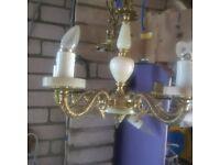 brass and onyx light/chandalier