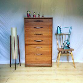 Vintage 1960s Mid Century modern teak Frank Guille Austinsuite chest of drawers tallboy