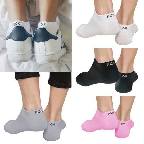 1 2 Pair Women Mens Sock Ankle Letter Print Design Off Pattern