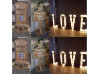 Candy cart & 4ft love letters with rustic post box and wedding this way sign
