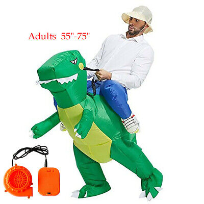 Inflatable Ride Dinosaur Rider Costume Outfit Halloween Party Role Adul Green US