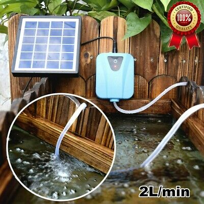 Solar Air Pump Oxygenator Powered Panel For Aquarium Fish Tank Pond Aerator US