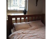 King size oak bed frame and brand new mattress