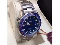 New Bagged And Boxed Blue Dail Stainless Steel Bracelet Omega Seamaster Watch Automatic Sweeping