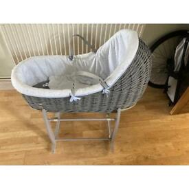 Grey wicker Moses basket with stand