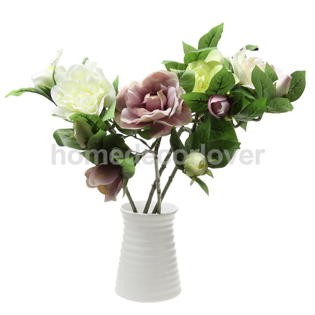 1 x artificial gardenia stem silk flower for home wedding party decor 4 colors - Flowers For Home Decor
