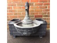 Large water feature hand pump with barrel and 2 flower storage