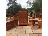 6 Piece Wood Bedroom Furniture Set / Suite, Wardrobe, Bedsides x2, Chest of Drawers, Dresser, Mirror
