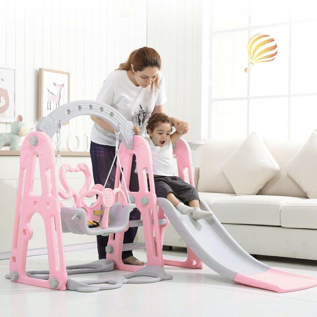 Toddler Playground Swing Slide Set Backyard Indoor W/Basket