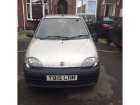 Fiat seicento 2001 1.1 s 3dr m.o.t till May 2017