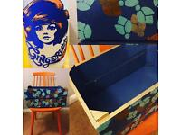 Lovely Painted Large Wooden Kitchen / Garden Patio Crate