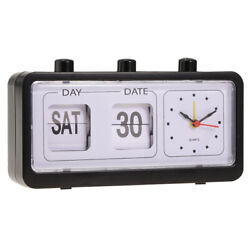 Retro Style Calendar Flip Alarm Clock - Day & Date Display - Black