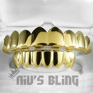 18K-IP-Gold-Plated-GRILLZ-8-Tooth-Top-Bottom-Mouth-Hip-Hop-STAINLESS-STEEL-Grill