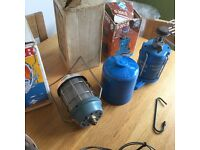 Camping Gaz small stove S200s with Spare Gaz and retro Harley Europa blazelight