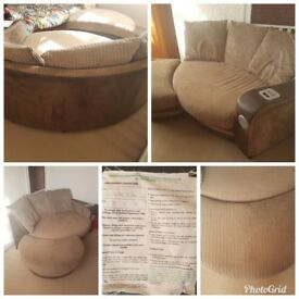 Brown cuddle sofa with footstool