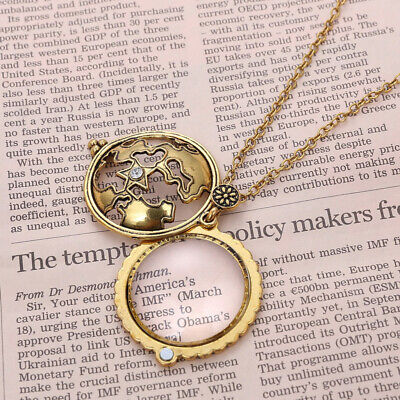 Magnifying Glass Pendant Necklace Openable Gothic Punk Sweat