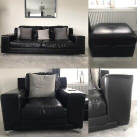 Black leather 3 seater, arm chair and foot stool, really good condition