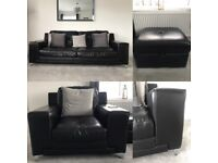 Black leather 3 seater sofa, Arm chair and matching footstool, excellent condition.
