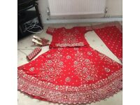 Asian bridal lengha with bag and shoes