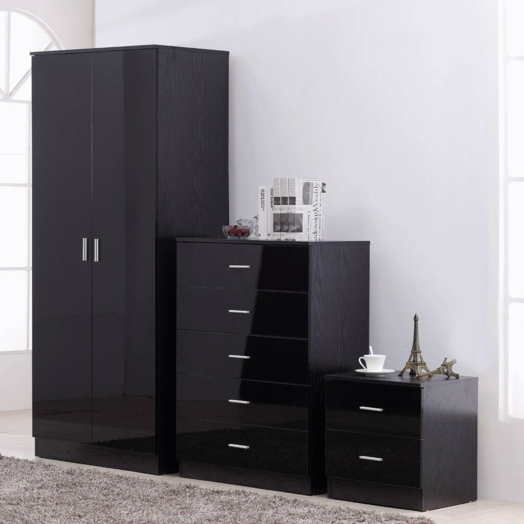 bedroom furniture black gloss. 2 X Bedroom Furniture Sets! Black Gloss Wardrobe, Chests Of Drawers +