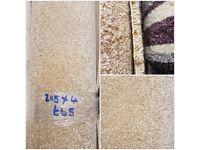 (2.85 x 4) Cream Short Pile Carpet Remnant - NEW - £60