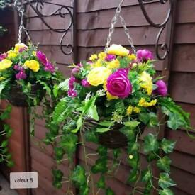 Handmade Artificial flower hanging baskets