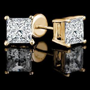 Princess Diamond Stud Earrings 2.00CTW Boucles d`oreilles en diamants