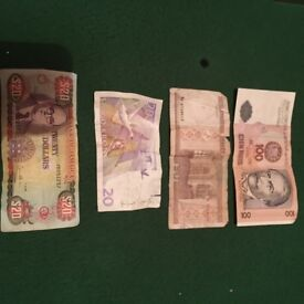 4 random foreign bank notes